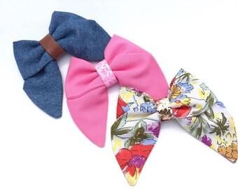 SALE Girls Sailor Bows, Denim Bows, Fabric Bows, Floral Bows,  Hair Bow Set, Summer Bows, Classic Bows