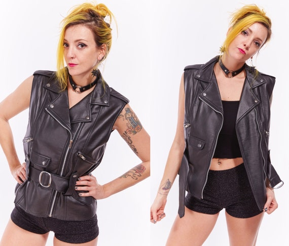 Vtg 90s PLEATHER Vegan Leather MOTO VEST Rock n Roll Punk Goth Polyurethane Biker Chick Retro Motorcycle Jacket Club Kid Raver Belted Boho