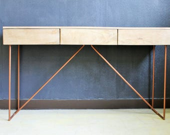 Metal console wood copper 3 drawers