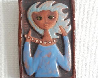 Rare relief. Pottery plaque by Lars Bergsten. Made in Sweden 60s.