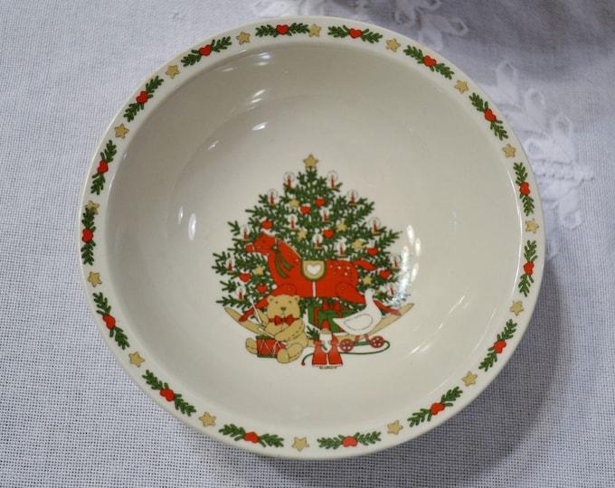 Vintage O Christmas Tree Soup Salad Bowl Set of 8 Holiday Dinnerware Ten Strawberry St 1987 PanchosPorch