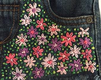 Kids hand embroidered denim shorts