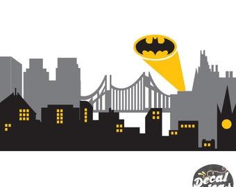 Gotham city skyline drawing