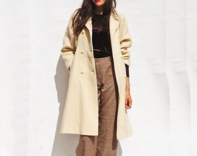 Cream Wool Coat, Vintage 60s Double Breasted Midi Coat, Womens Wool Winter Coat, 1960s Boho Coat, Tailored Coat, Minimal Coat, Long Coat
