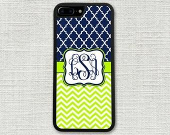 Navy Lattice iPhone 7 Case, Monogrammed iPhone 7 Plus Case, Monogram Lime Chevrons 1242
