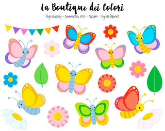 Colorful Butterfly Clipart, Cute Graphics PNG, Spring Bugs, garden flowers, Insect Clip art, Scrapbook Illustrations for Commercial Use