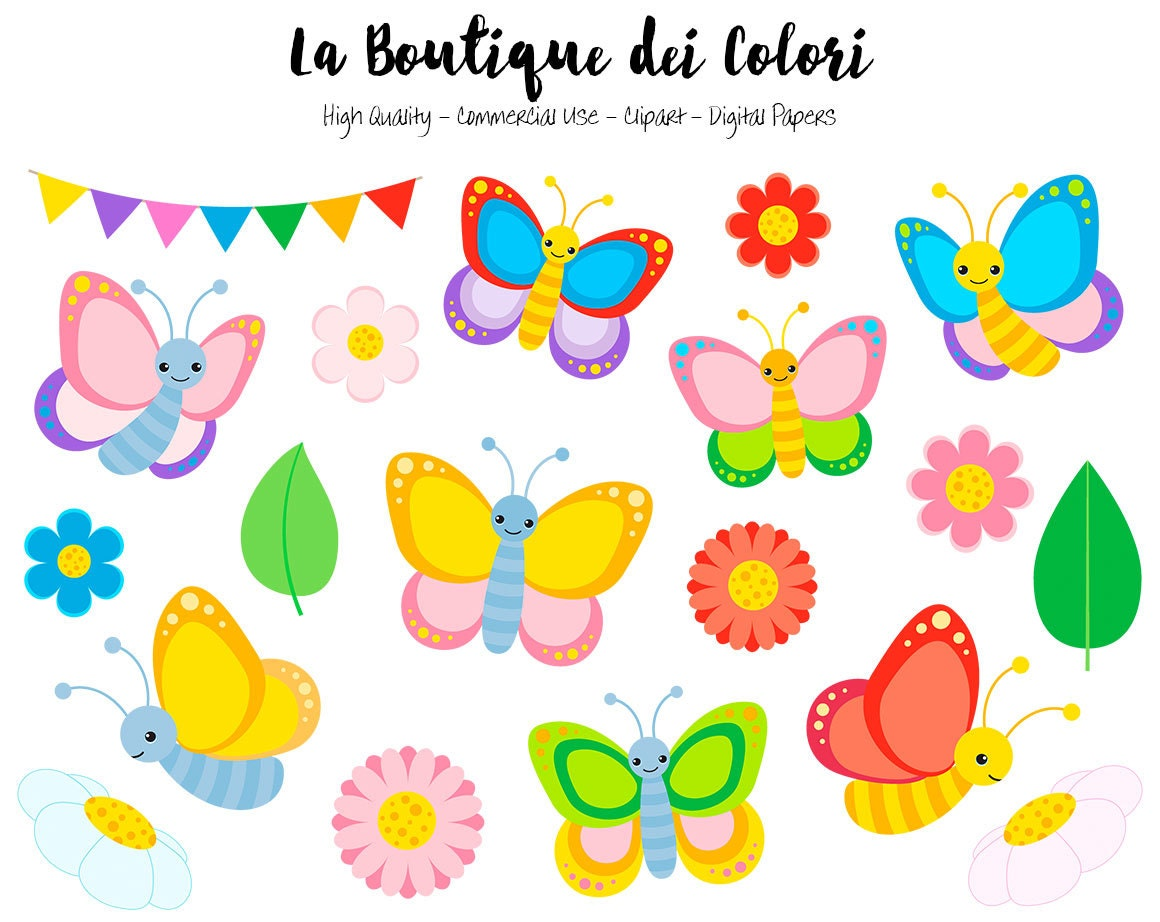 colorful butterfly clipart cute graphics png spring bugs
