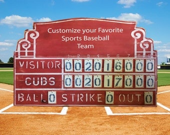 Customize Your Favorite Sports Baseball Team Scoreboard Vintage Style
