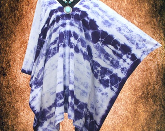 Indigo Japanese Shibori Wearable Art V neck Hand dyed Poncho Tunic Top