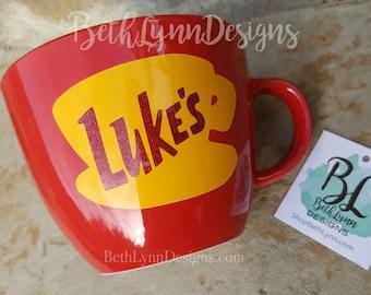 Glitter | Red | ORIGINAL Luke's Diner Mug | Big Mug | Lukes mug | Lukes Diner | Gilmore Girls | Inspired | Mug | VINYL decal logo BOTH sides