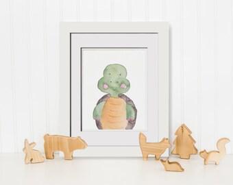 Baby Turtle Printable Turtle Art Print Kids Boho Art Rustic Nursery Print Forest Decor Nursery Safari Nursery Art Forest Print Animal Set