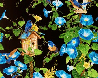 Stunning Morning Glory Fabric Panel**CM4968**  Art Quilting Fabric-Perfect for Thread Painting-Machine embroidery-embellishing