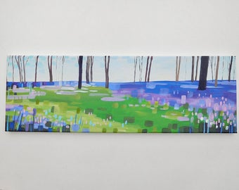 Secret bluebell woods - original art / original painting / landscape art / bluebells / acrylic painting