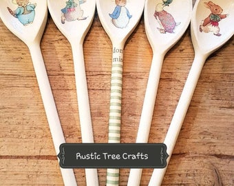 Beatrix Potter Peter Rabbit Jemima Puddle Duck Inspired Wooden Spoon Easter New Baby Christening  Gift
