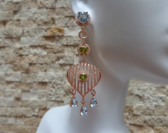 Long Blue Topaz, Peridot and Rose Gold over Sterling Silver earrings