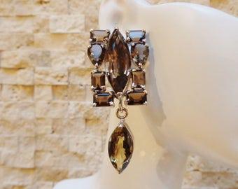 Big Smokey Quartz and Sterling Silver earrings