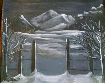 Acrylic painting. Calm winter's night. Art collectible 11x14 OOAK unique
