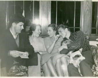 Vintage Photo..Sweethearts on the Couch, 1930's Original Found Photo, Vernacular Photography