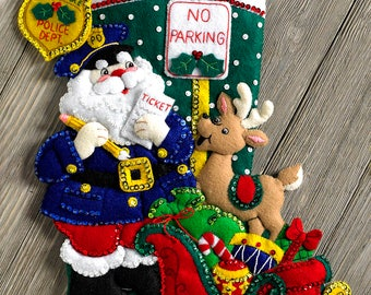 "Bucilla Police Officer Santa ~ 18"" Felt Christmas Stocking Kit #86711, Reindeer, DIY"