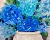 ORIGINIAL STILL LIFE  oil painting Blossom blue hydrangeas China vase 8 by 10 original oil
