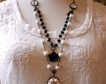 Vintage inspired double strand necklace Iris blue rystal Pearl necklace Flower and pearl rhinestone assemblge pendant