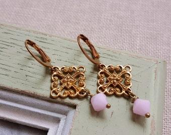 Antique inspired Golden filigree Pink Swarovski crystals earrings Soft pink baby pink jewelry Elegant earrings