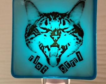 Riot Grrrl Cat Night Light Fused Glass