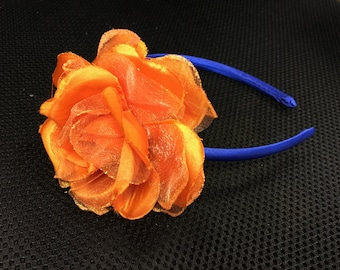 Orange Rose on Blue Headband for Girls