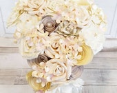 Paper Flower wedding bouquet roses ivory white cream champagne hydrangea rose pretty vintage teardrop fairytale winter princess theme bridal