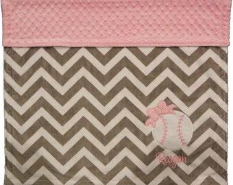 Baseball Baby Blanket, Chevron Grey and Pink Minky Baseball Blanket, Personalized Girl Baseball Blanket, Baseball Nursey