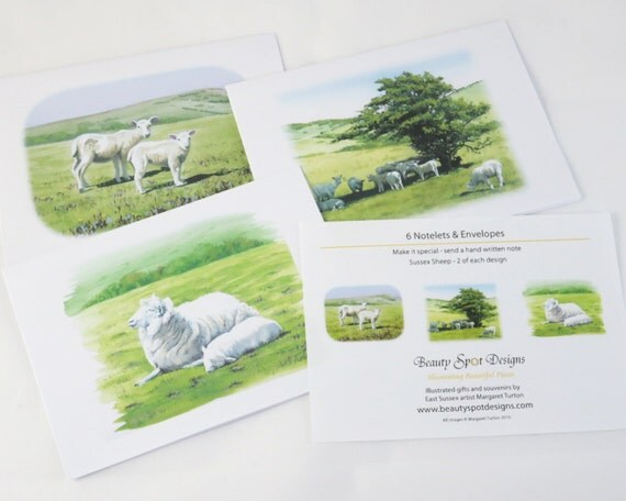 Spring Time Lambs and Daffodils, Pack of 6 Notelets
