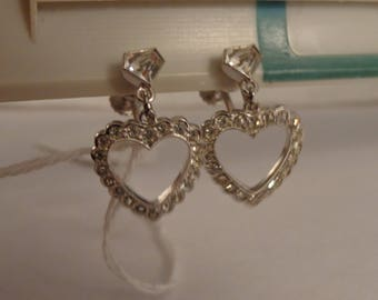 """Sterling Silver and CZ Screw Back Earrings with Heart Dangles - 1"""" Long"""