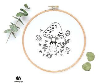 Woodland forest mushroom, toadstool, sampler Digital hand embroidery pattern , PDF instant Download
