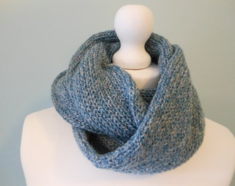 Men knitting accessories, mens infinity scarf, gift for boyfriend, blue knit scarf, gift for him, unique handmade scarves, boys scarf