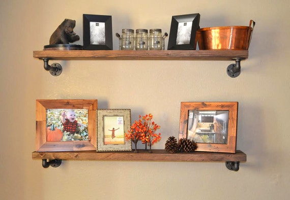 Rustic Industrial Pipe Shelf Floating Shelves Shelf Dining