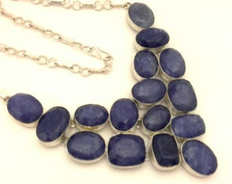 Sapphire Quartz Natural Genuine Faceted Stone Charming Solid Silver Vintage Necklace Excellent Work Handmade
