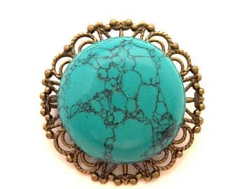 Vintage Golden Copper Openwork Blue Turquoise Round Cabochon Brooch