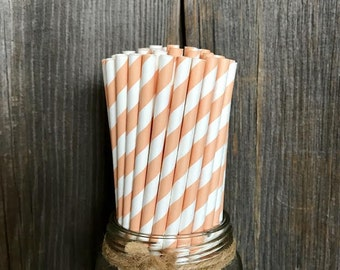 100 Peach Stripe Paper Straws,  Party Supply, Wedding, Baby or Bridal Shower Party Goods, Tableware, Disposable, Striped Paper Goods