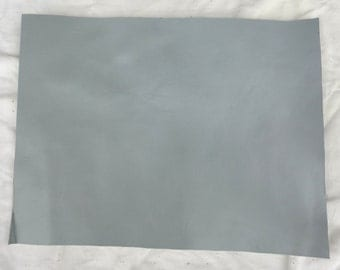 """Light Grey Leather - 8"""" X 10"""" Square Grey Split Leather - Glossy Grey Craft Leather - Cowhide leather - Genuine Leather - Leather Remnant"""