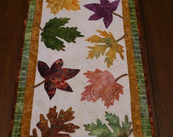 Autumn Glory Batik Quilted Table Runner or Topper