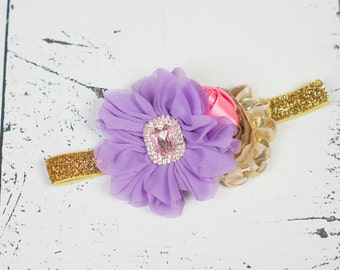 LAVENDER PINK GOLD Headband, Baby headband, Purple Pink Gold Flower Girl Headband, Purple Girls Headband, Girls First Birthday Headband
