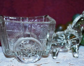 Clear Glass Donkey Pulling Wheeled Cart