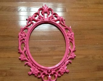 large bright pink oval ornate frame large open back gallery frame photo prop free glass optional