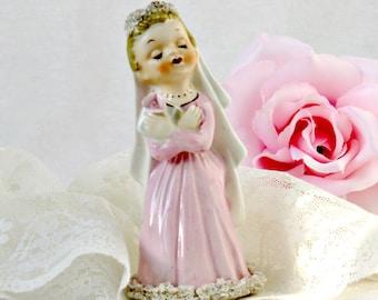 Vintage 1950s Pink Bride Figurine - Norcrest Fine China F 55 Spaghetti Porcelain Kitsch Collectible - Communion Girl Knick Knack