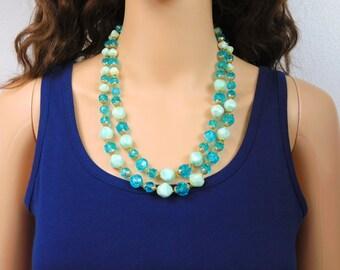 Aqua Bead Necklace Double Strand Light Blue Beaded Necklace Vintage Baroque Long Beaded Necklace Jewelry
