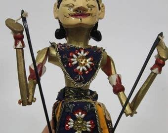 Vintage Wooden Bali Stick Puppet Indonesia Shadow Puppet Wayang Golek Asian