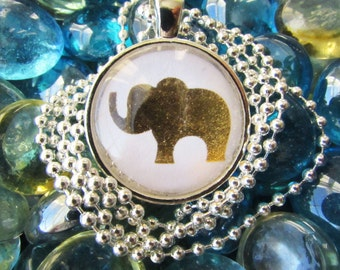 Metallic Gold Elephant Necklace - Boho Pendant Necklace - Personalized Necklace - Hand Stamped Letter Necklace