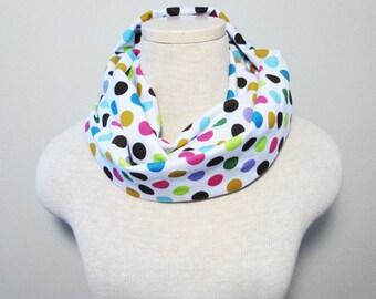 Infinity Scarf - Polka Dot Scarf - Knit Scarf