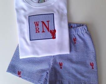 Boy's Lobster/Crawfish Shirt, Shorts, or Shirt/Shorts Outfit