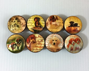 Set of 8 Puppy Dog Cabinet Knobs